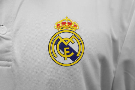 football jersey: BANGKOK, THAILAND - JULY 25, 2016: The Logo of Real Madrid on Football Jersey on July 25,2016 in Bangkok Thailand. Editorial