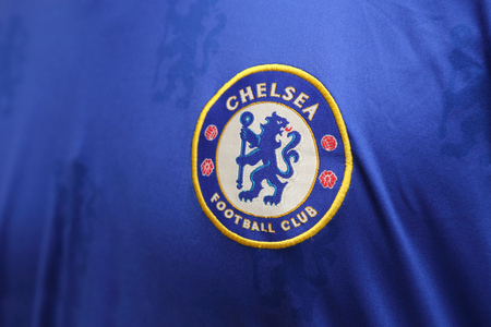 chelsea: BANGKOK, THAILAND - JULY26, 2016: The Logo of Chelsea Football Club on the Jersey on July 26,2016 in Bangkok Thailand.