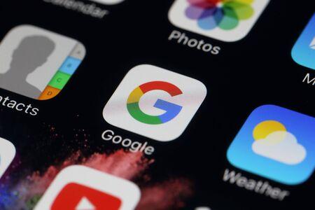 google chrome: BANGKOK, THAILAND JULY 28, 2016: Google Icon on IPhone screen on July 28,2016