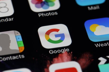 gmail: BANGKOK, THAILAND JULY 28, 2016: Google Icon on IPhone screen on July 28,2016