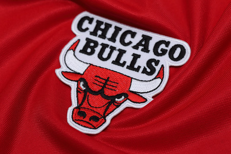 BANGKOK, THAILAND -AUGUST 18, 2016: The Logo of Basketball TeamChicago Bulls on the textile on August 18,2016 in Bangkok Thailand. Editorial