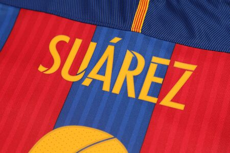lionhead: BANGKOK, THAILAND -AUGUST 22, 2016: the name of Luis Suarez of Barcelona on the back of official jersey on Auguse 22, 2016 in Bangkok Thailand. Editorial