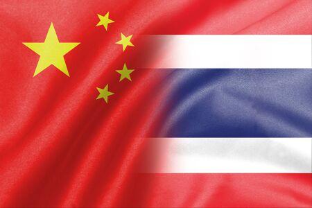 thai flag: background of half china and thai flag
