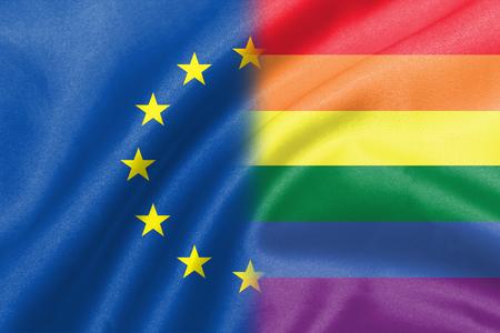 sex discrimination: background of half eu half lgbt flag