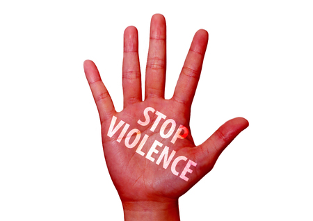 sabotage: isolated stop violence written on woman hand