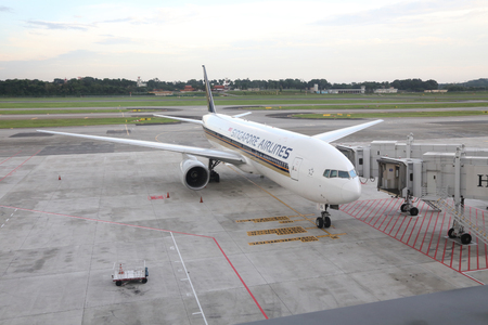 sq: SINGAPORE -SEPTEMBER 17, 2016: Aiplane from Singapore Airlines (SQ) at the Singapore Changi Airport (SIN) on September 17, 2016