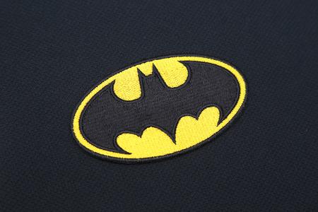 batman: BANGKOK, THAILAND -SEPTEMBER 24, 2016: Batman Logo on Dark Fabric on September 24,2016