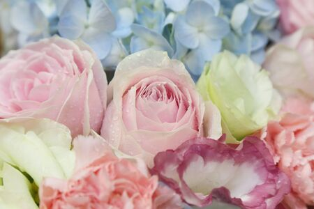 many thanks: background of flower bouquets Stock Photo