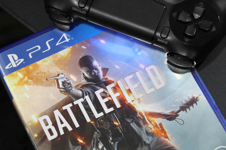 battlefield: BANGKOK, THAILAND - OCTOBER 25, 2016: The New Battlefield 1 game on PS4 Console on October 25,2016. in Bangkok Thailand.