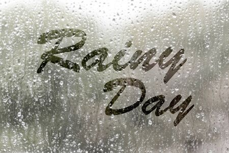 raindrops: view through the raindrop window on rainy day