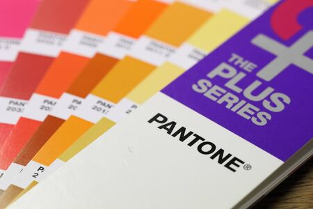 BANGKOK, THAILAND -JANUARY 15, 2017. Close-Up on Pantone Color Guide Scheme on January 15,2017 in Thailand Editorial