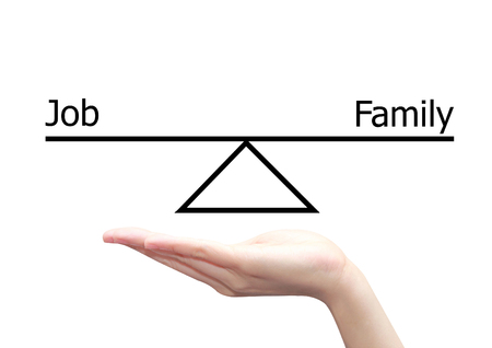 health equity: isolated hand with job and family concept