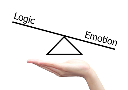 intuitive: isolated hand with left right brain concept of logic and emotion