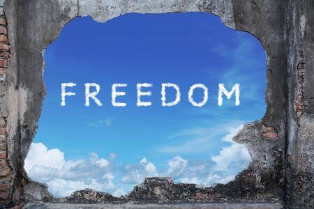 broken brickwall with freedom sky