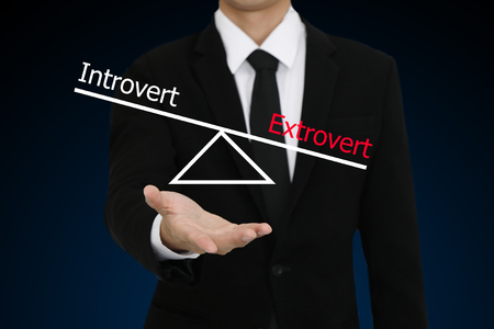 businessman presenti introvert and extrovert character Stock Photo