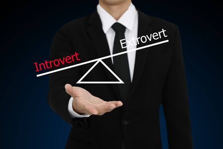 extrovert: businessman presenti introvert and extrovert character Stock Photo