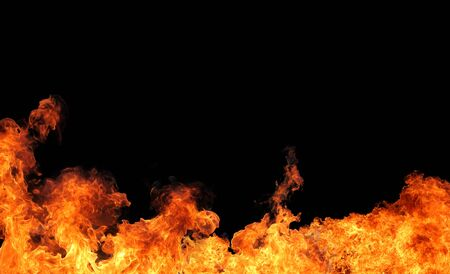 isolated fire flame on black background Stock Photo