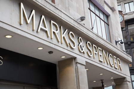 LONDON, ENGLAND - MAY 4: Marks and Spencer sign on the wall on May 4,2017