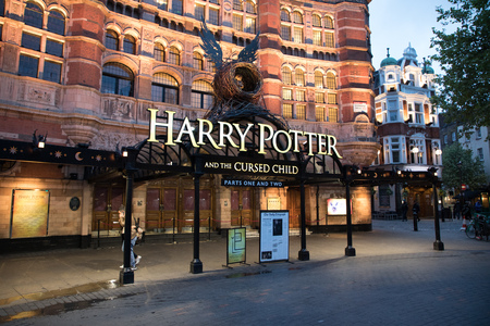 London, England - MAY 1: View of the Palace Theatre with Play of Harry Potter and the Cursed Child  on May 1, 2017. Editorial