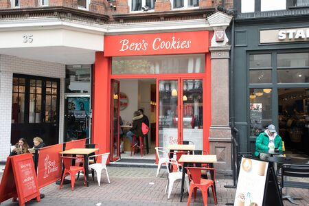 bens: London, England - MAY 1: View of Bens Cookies Shop on Canarby Street on May 1, 2017.