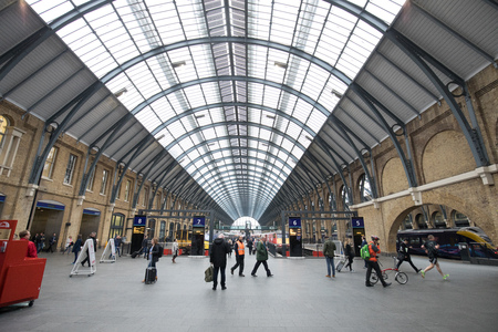 LONDON, ENGLAND - MAY 4: View of Kings Cross St. Pancras  railway stationl on May 4,2017