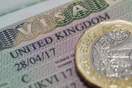 Close Up United Kingdom visa in the passport with one pounds coin