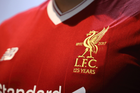 BANGKOK, THAILAND - JULY 12: The Logo of Liverpool Football Club on the Jersey on July 12,2017 in Bangkok Thailand. Editorial