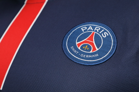 BANGKOK, THAILAND - JULY 14: The Logo of Paris Daint Germain Football Club on the Jersey on July 14,2017.