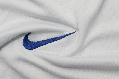 BANGKOK, THAILAND - JULY 15: The  Logo of Nike  on Football Jersey on July 15,2017 in Bangkok Thailand.