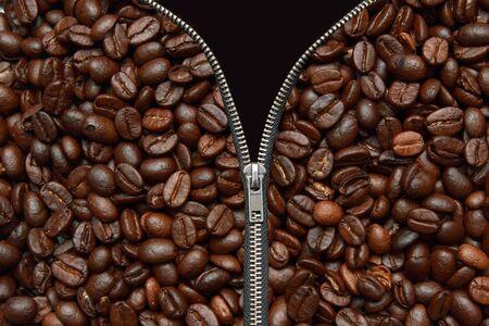 zipper open  with  coffee inside