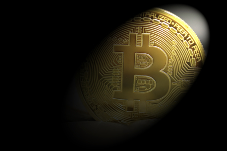 golden bitcoins on coins baclground
