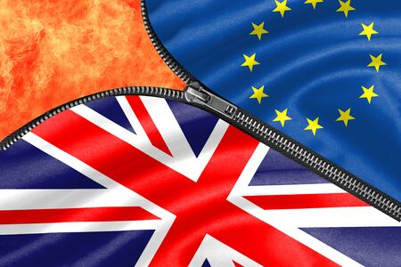 Zipper separates the flags of the EU and the UK with fire for Brexit concept Stock Photo