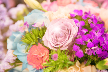 close-up on bouquet of flowers