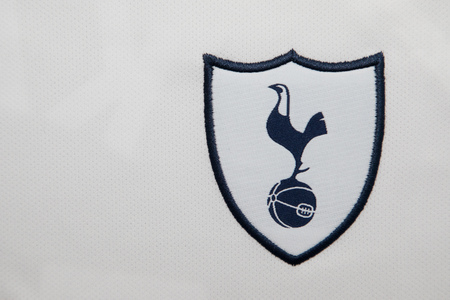 premier: BANGKOK, THAILAND - AUGUST 4: The Logo of Tottenham Hotspur Football Club on the Jersey on August 4,2017 in Bangkok Thailand.