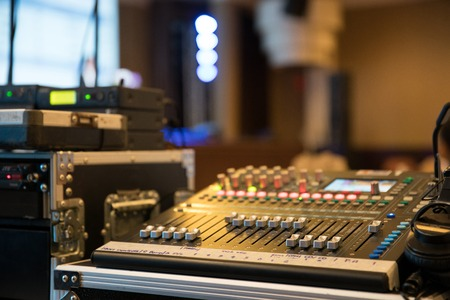 sound mixer in the event hall Stockfoto