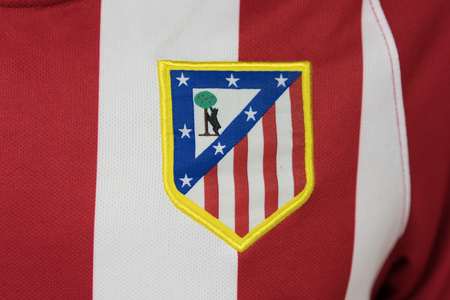 BANGKOK, THAILAND - AUGUST 23: the logo of Atletico Madrid logo Football Jersey on August 23,2017 Editorial