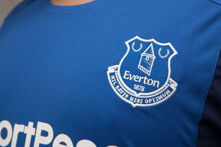BANGKOK, THAILAND - AUGUST 23: the logo on Everton logo on Football Jersey on August 22,2017
