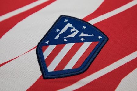 BANGKOK, THAILAND - AUGUST 23: the logo of the new Atletico Madrid logo on Football Jersey on August 23,2017