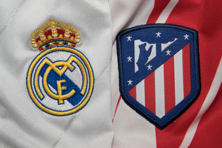 BANGKOK, THAILAND - AUGUST 23: the logo of Real Madrid and Atletico Madrid logo Football Jersey on August 22,2017 Editorial