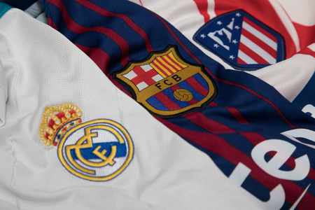 BANGKOK, THAILAND - AUGUST 23: the logo of Real Madrid, Barcelona and Atletico Madrid logo on Football Jersey on August 23,2017 Editorial