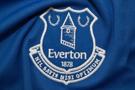 BANGKOK, THAILAND - AUGUST 23: the logo on Everton logo on Football Jersey on August 23,2017 Editorial