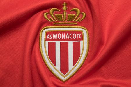 BANGKOK, THAILAND -SEPTEMBER 18: The Logo of  AS Monaco on Football Jerseys on September 18 ,2017  in Bangkok Thailand.