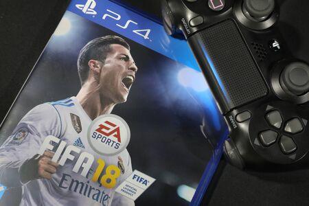 BANGKOK, THAILAND - SEPTEMBER  29: The New FIFA Football 2018  game on PS4 Console on September 29,,2017. in Bangkok Thailand.