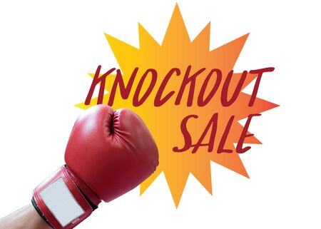 fist boxing punch with knockout sale tag