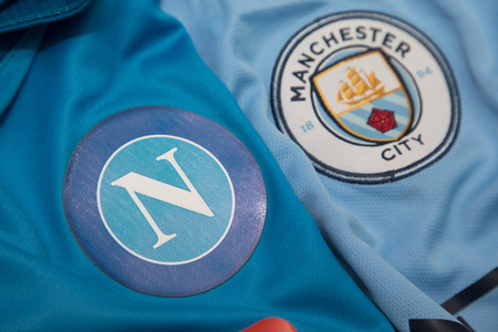 BANGKOK, THAILAND -OCTOBER 18: The Logo of Napoli and Manchester City football club on an official jersey on October 18,2017.