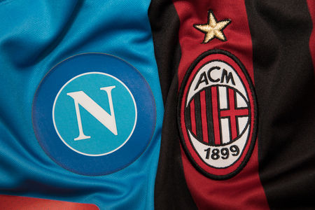 BANGKOK, THAILAND -OCTOBER 18: The Logo of Napoli and AC Milan football club on an official jersey on October 18,2017.