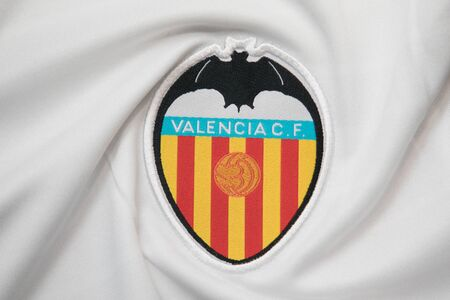 BANGKOK, THAILAND -OCTOBER 18: The Logo of Valencia  football club on an official jersey on October 18,2017. Editorial