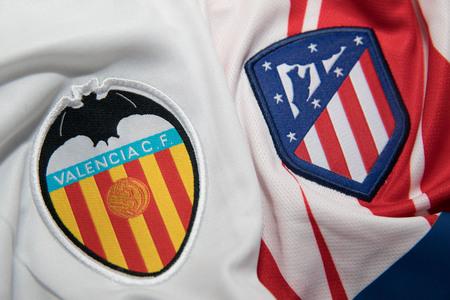 BANGKOK, THAILAND - OCTOBER 22: the logo of Valencia and Atletico Madrid logo Football Jersey on Occtober 22,2017