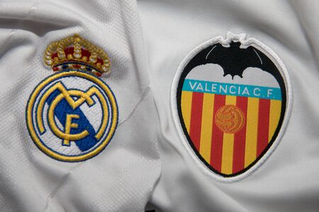 BANGKOK, THAILAND - OCTOBER 22: the logo of Real Madrid and Valencia logo Football Jersey on Occtober 22,2017 Editorial