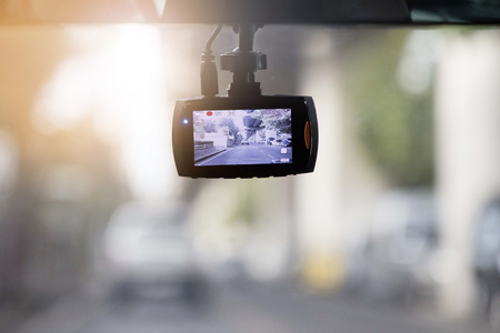 high def: CCTV car record camera in the car Stock Photo